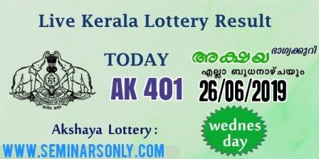 LIVE: Kerala Lottery Result 26 6 19 Akshaya AK 401 Results Today